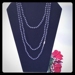 Long glass gray faux pearls hand knotted necklace